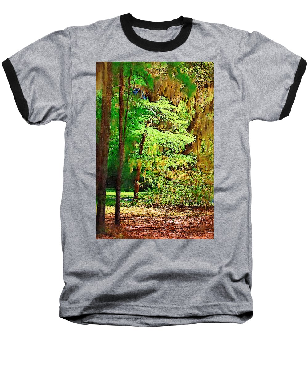 Woods Baseball T-Shirt featuring the photograph Southern Forest by Donna Bentley
