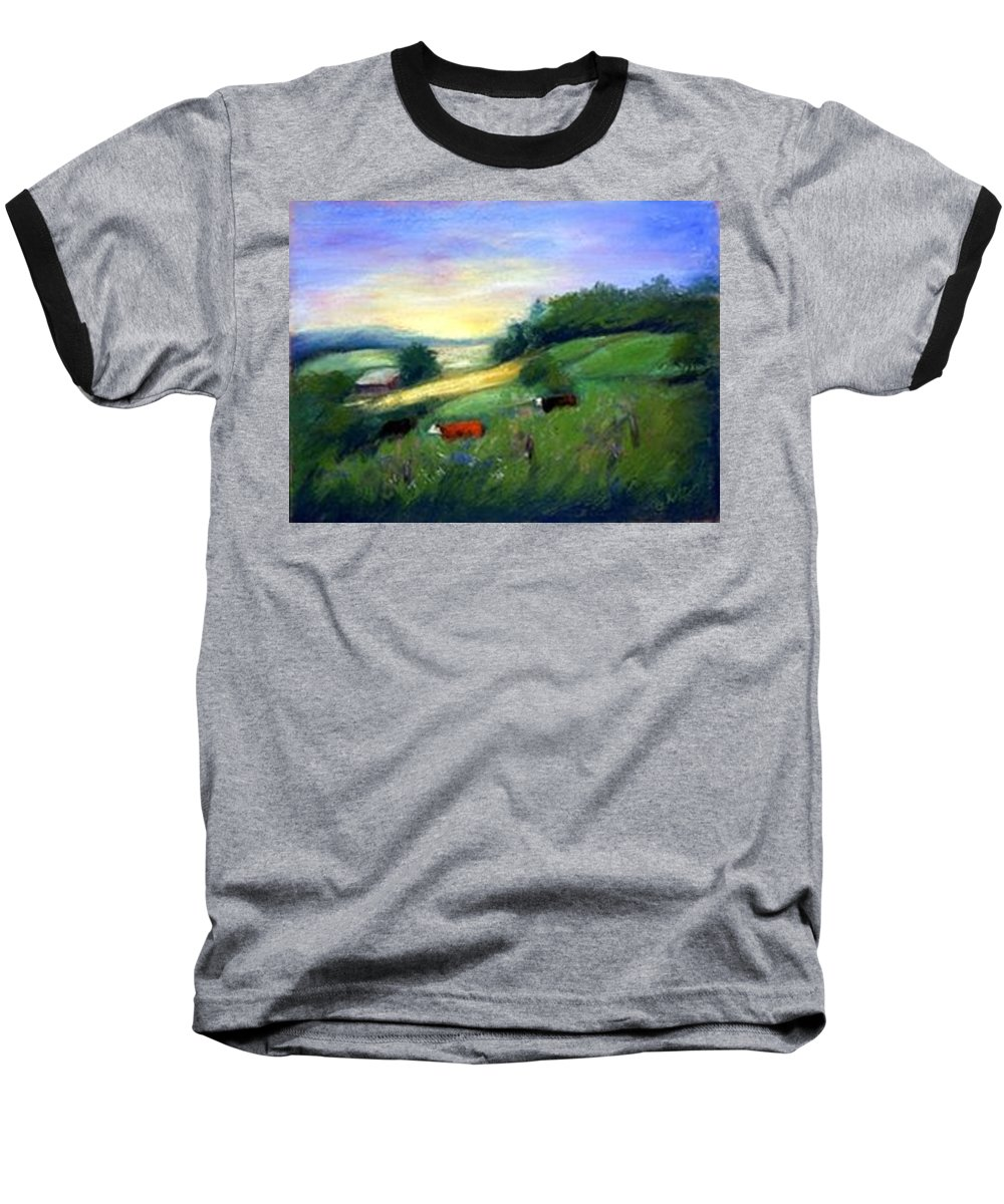 Landscape Baseball T-Shirt featuring the painting Southern Ohio Farm by Gail Kirtz