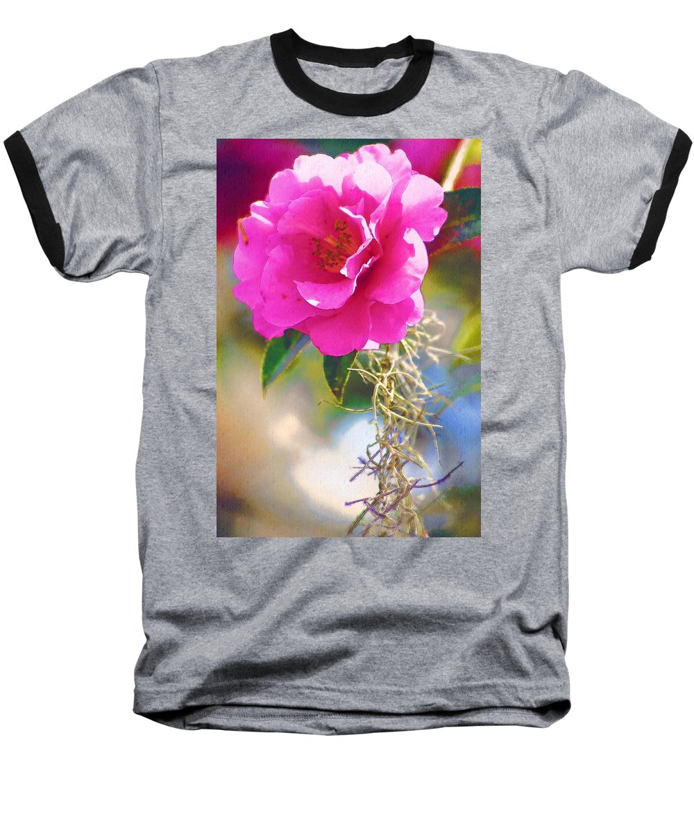 Rose Baseball T-Shirt featuring the digital art Southern Rose by Donna Bentley