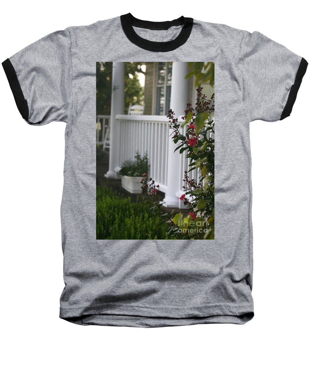 Summer Baseball T-Shirt featuring the photograph Southern Summer Flowers And Porch by Nadine Rippelmeyer