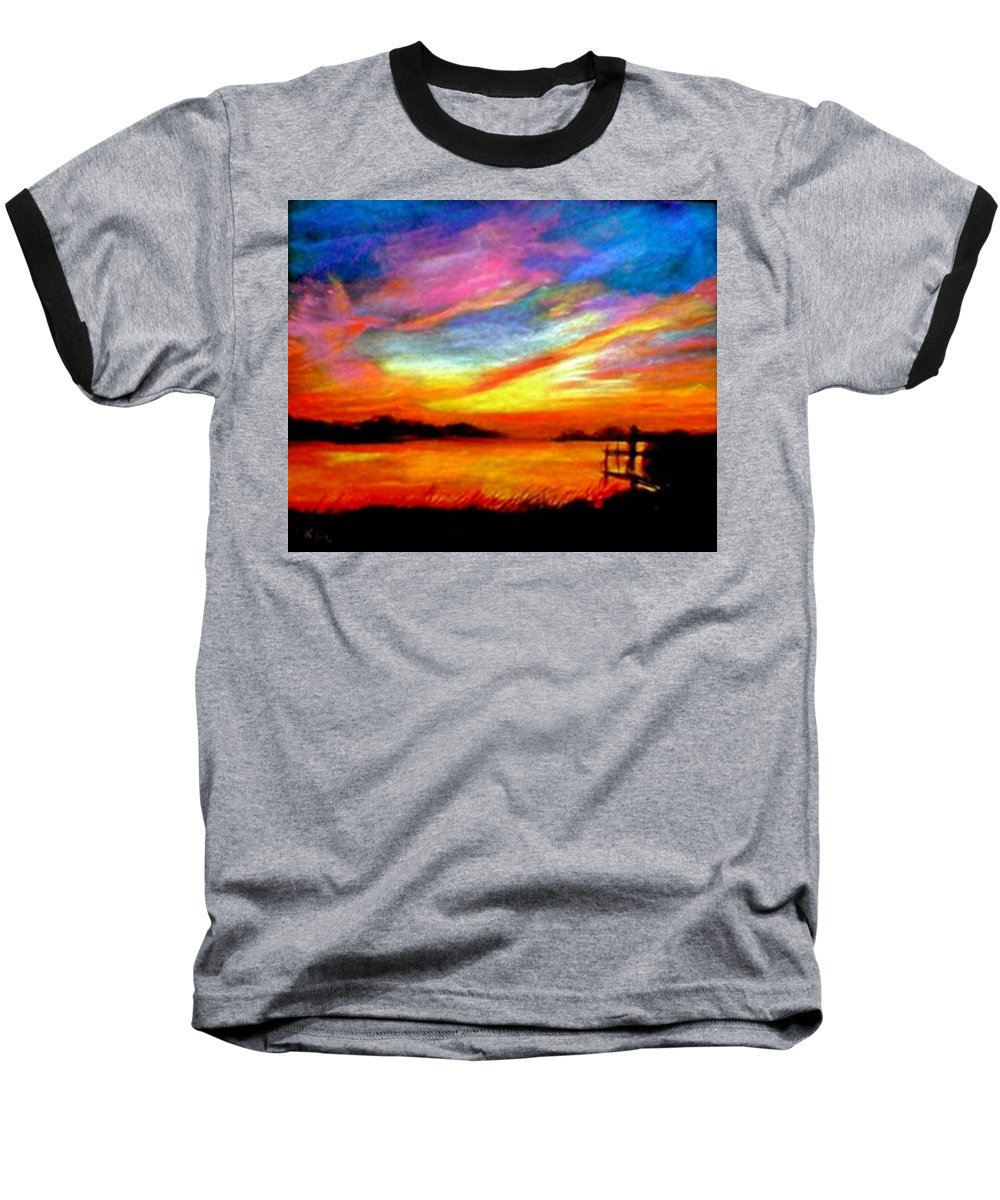 Sunset Baseball T-Shirt featuring the painting Southern Sunset by Gail Kirtz