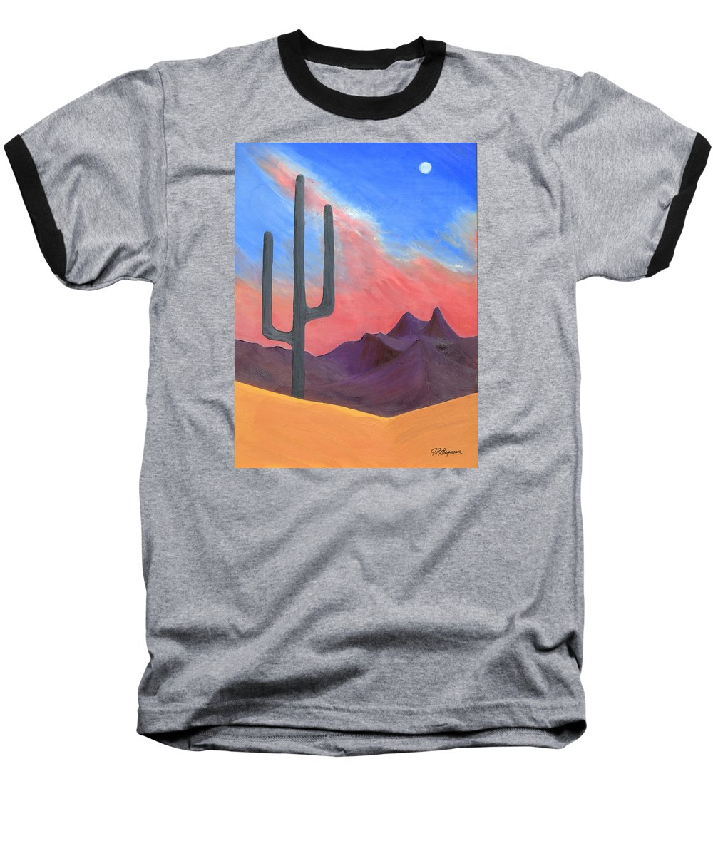 Cactus Baseball T-Shirt featuring the painting Southwest Scene by J R Seymour