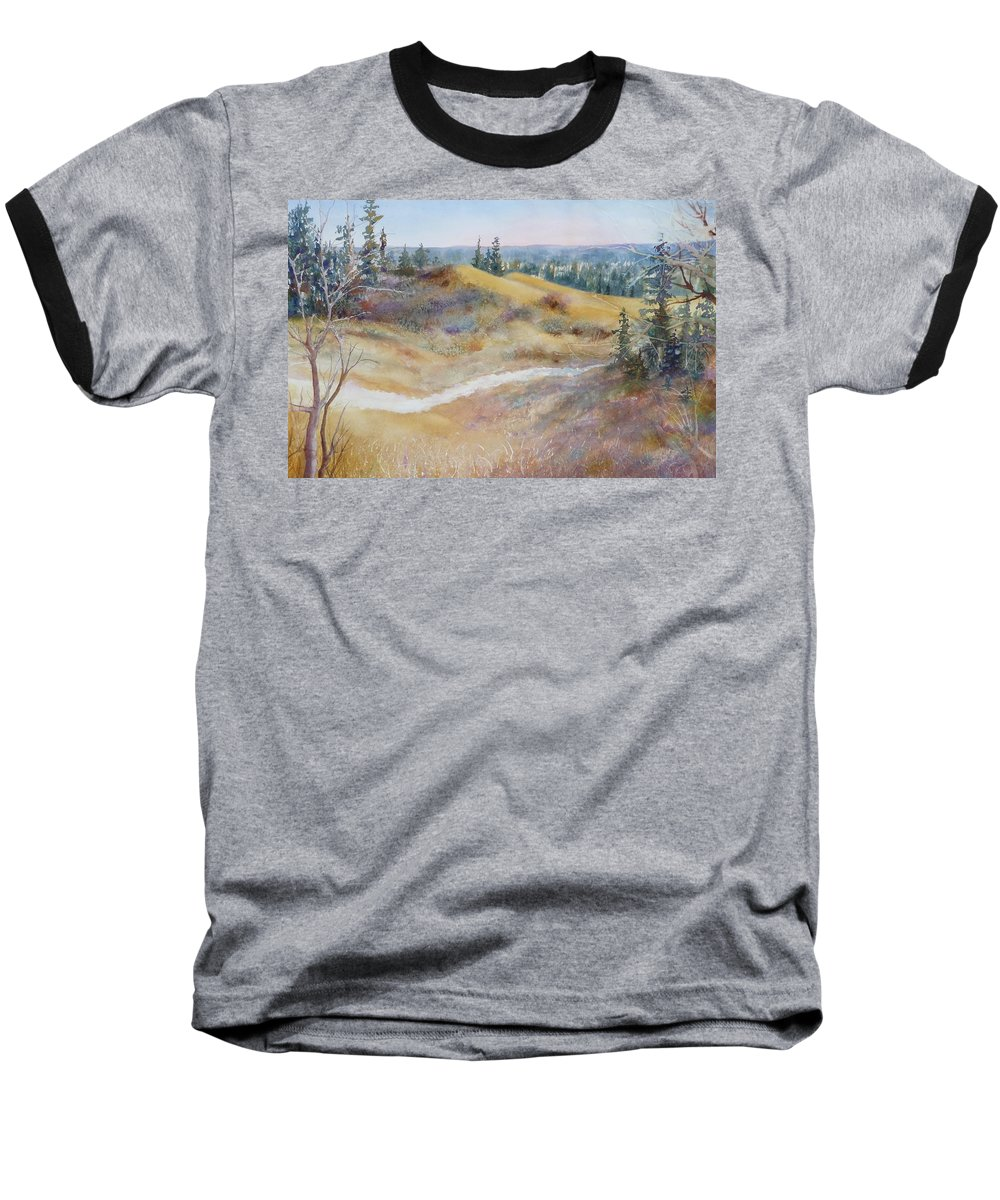 Landscape Baseball T-Shirt featuring the painting Spirit Sands by Ruth Kamenev
