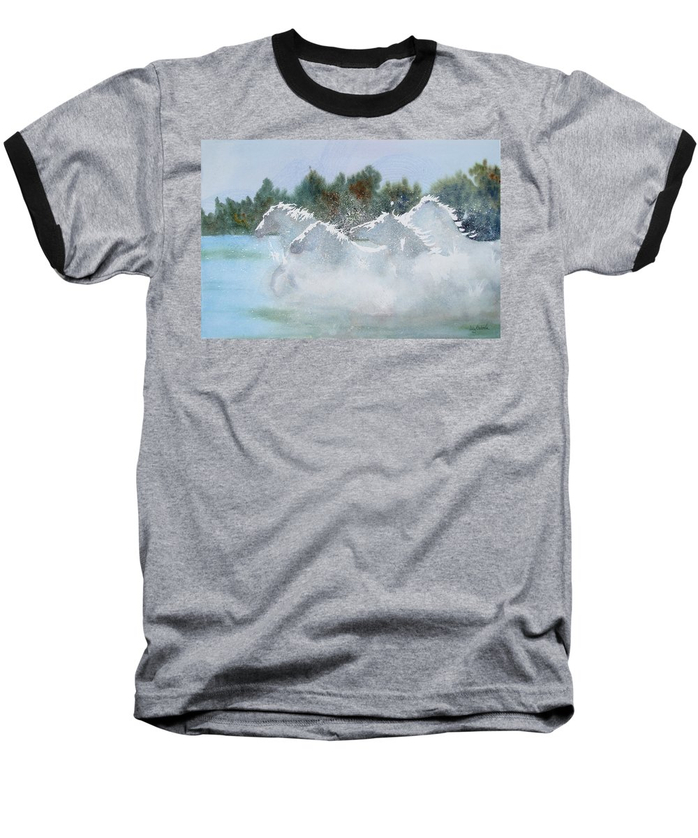 Horse Baseball T-Shirt featuring the painting Splash 1 by Ally Benbrook