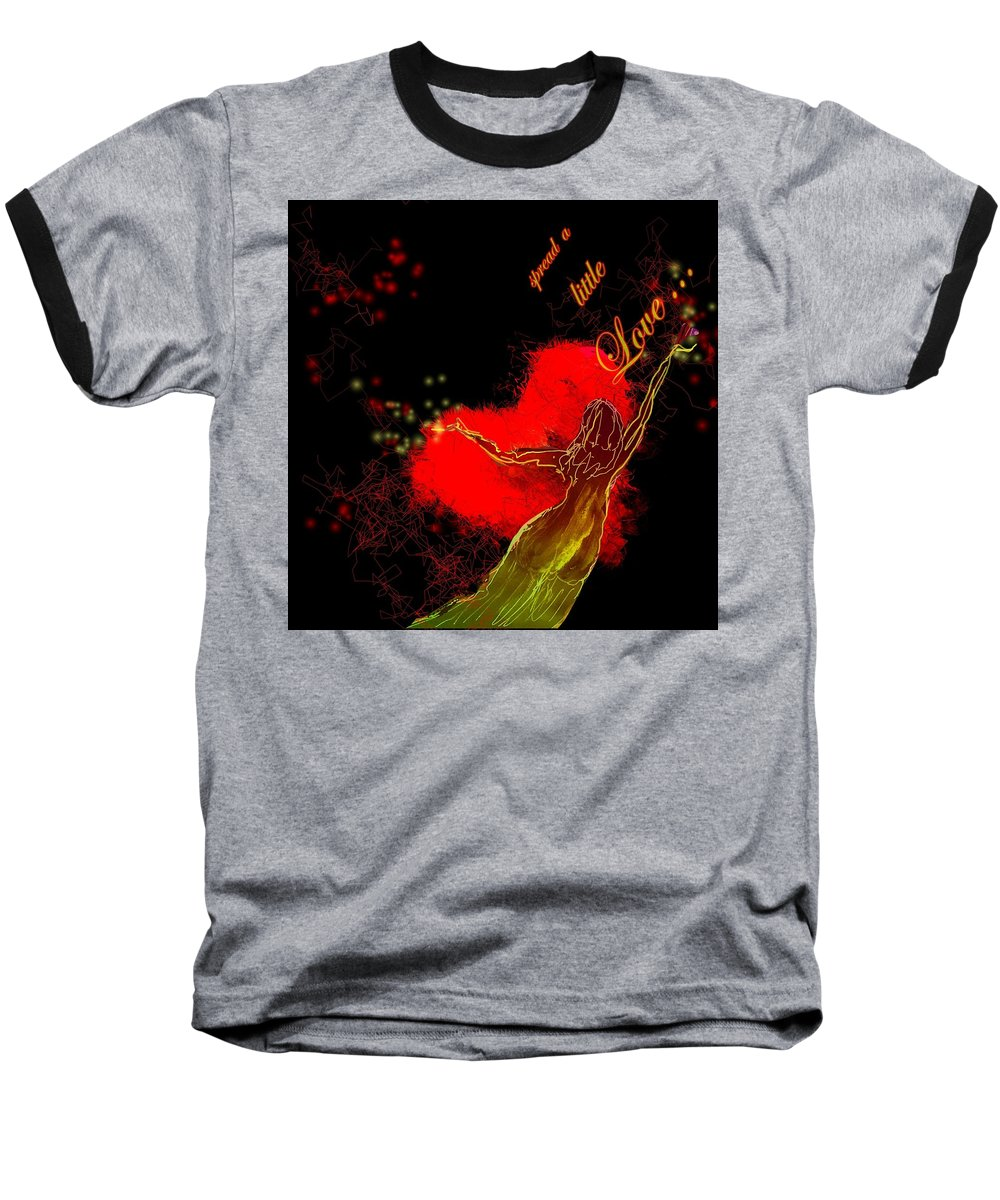 Love Baseball T-Shirt featuring the painting Spread A Little Love by Miki De Goodaboom