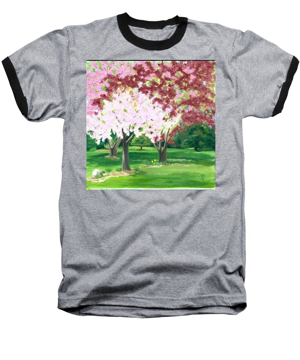 Spring Baseball T-Shirt featuring the painting Spring At Osage Land Trust by Paula Emery