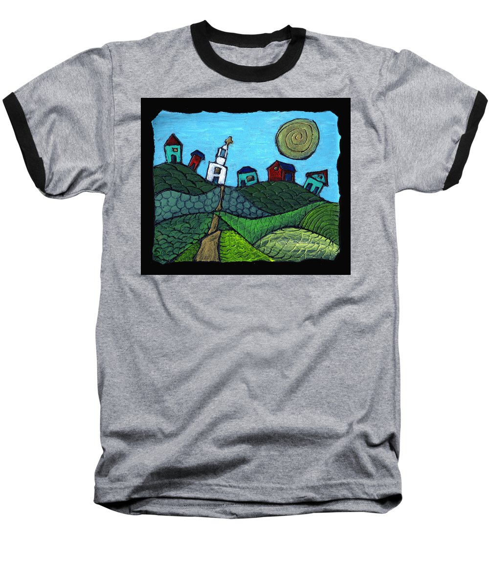 Whimsical Baseball T-Shirt featuring the painting Spring Comes To The Valley by Wayne Potrafka