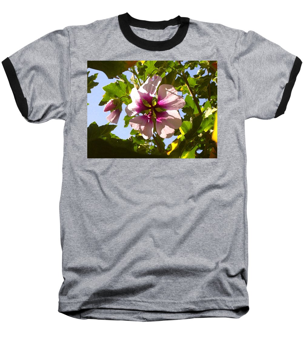 Flower Baseball T-Shirt featuring the painting Spring Flower Peeking Out by Amy Vangsgard