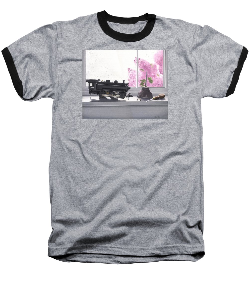 Lionel Baseball T-Shirt featuring the painting Spring Rain Electric Train by Gary Giacomelli