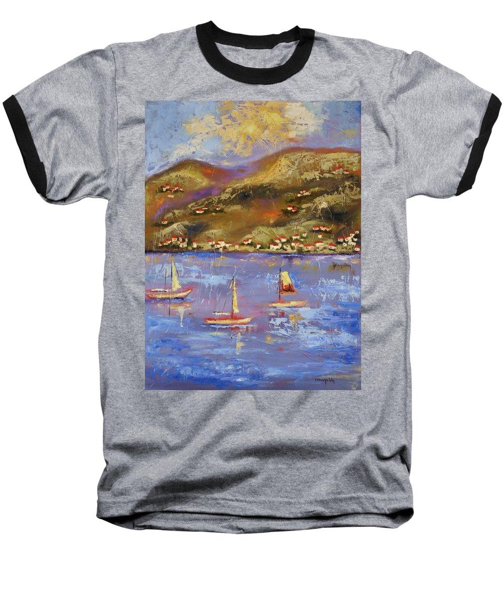 St. John Baseball T-Shirt featuring the painting St. John Usvi by Ginger Concepcion