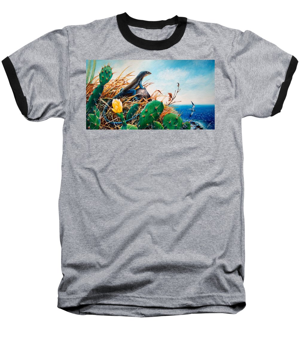 Chris Cox Baseball T-Shirt featuring the painting St. Lucia Whiptail by Christopher Cox