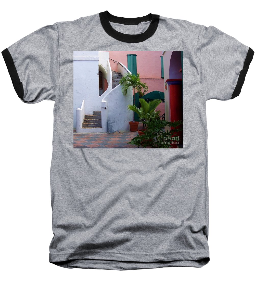 Architecture Baseball T-Shirt featuring the photograph St. Thomas Courtyard by Debbi Granruth