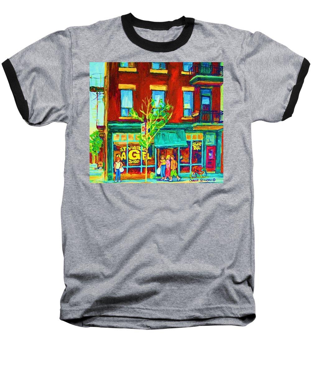 St. Viateur Bagel Shop Baseball T-Shirt featuring the painting St Viateur Bagel Shop by Carole Spandau