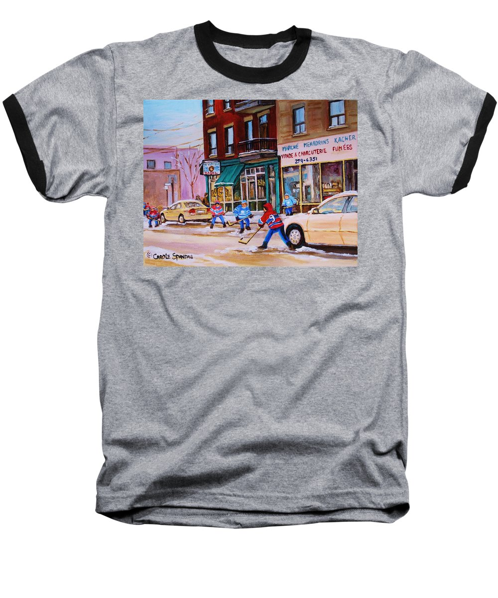 Montreal Baseball T-Shirt featuring the painting St. Viateur Bagel With Boys Playing Hockey by Carole Spandau