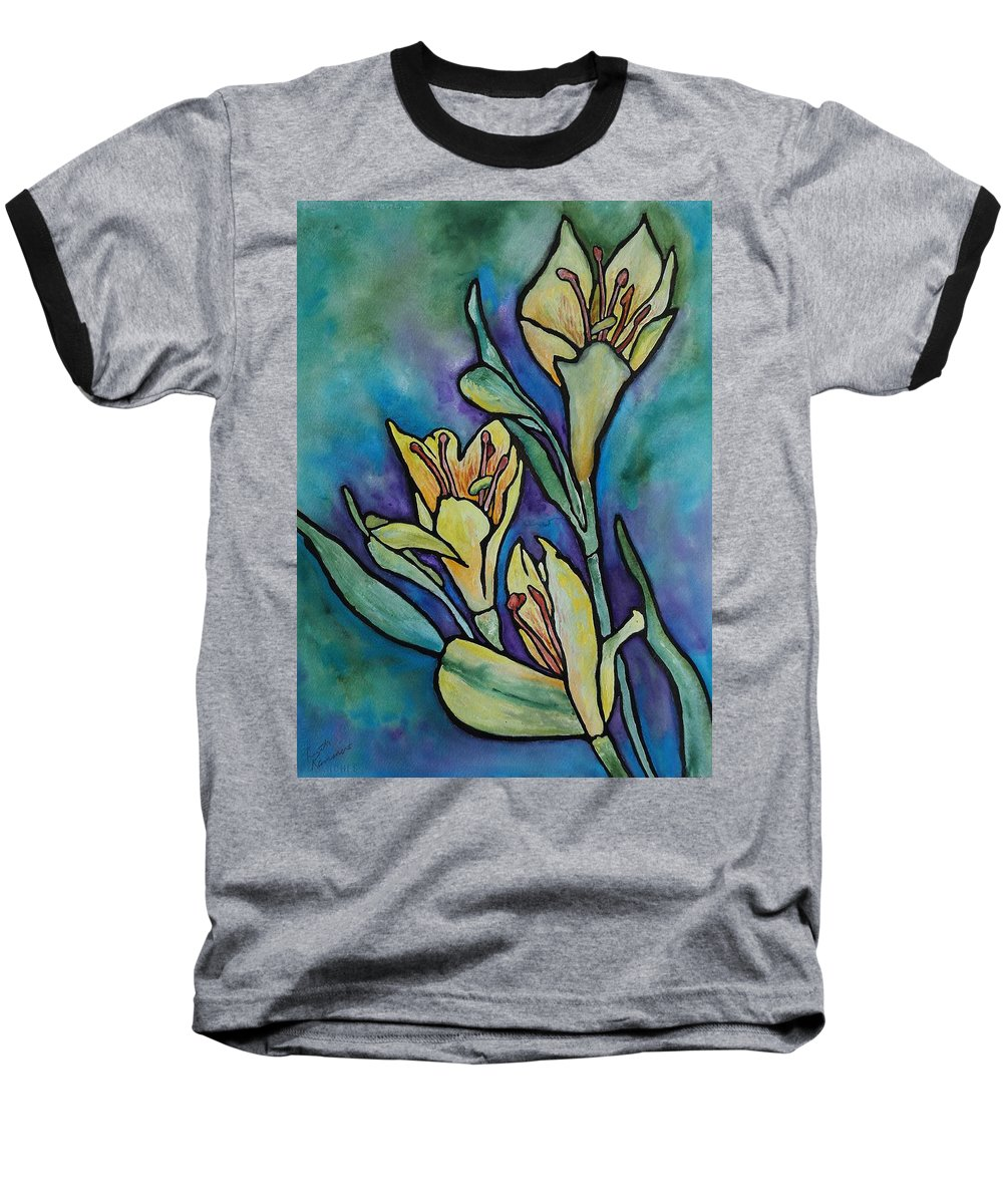 Flowers Baseball T-Shirt featuring the painting Stained Glass Flowers by Ruth Kamenev