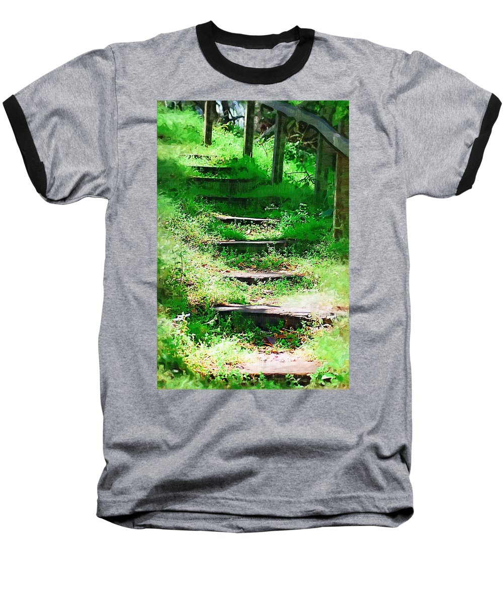 Stairs Baseball T-Shirt featuring the photograph Stairway To Heaven by Donna Bentley