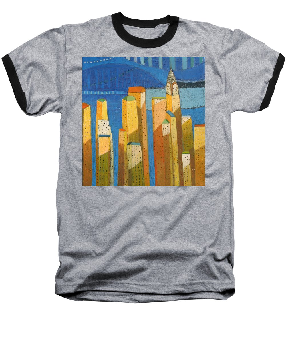 Abstract Cityscape Baseball T-Shirt featuring the painting Standing High by Habib Ayat