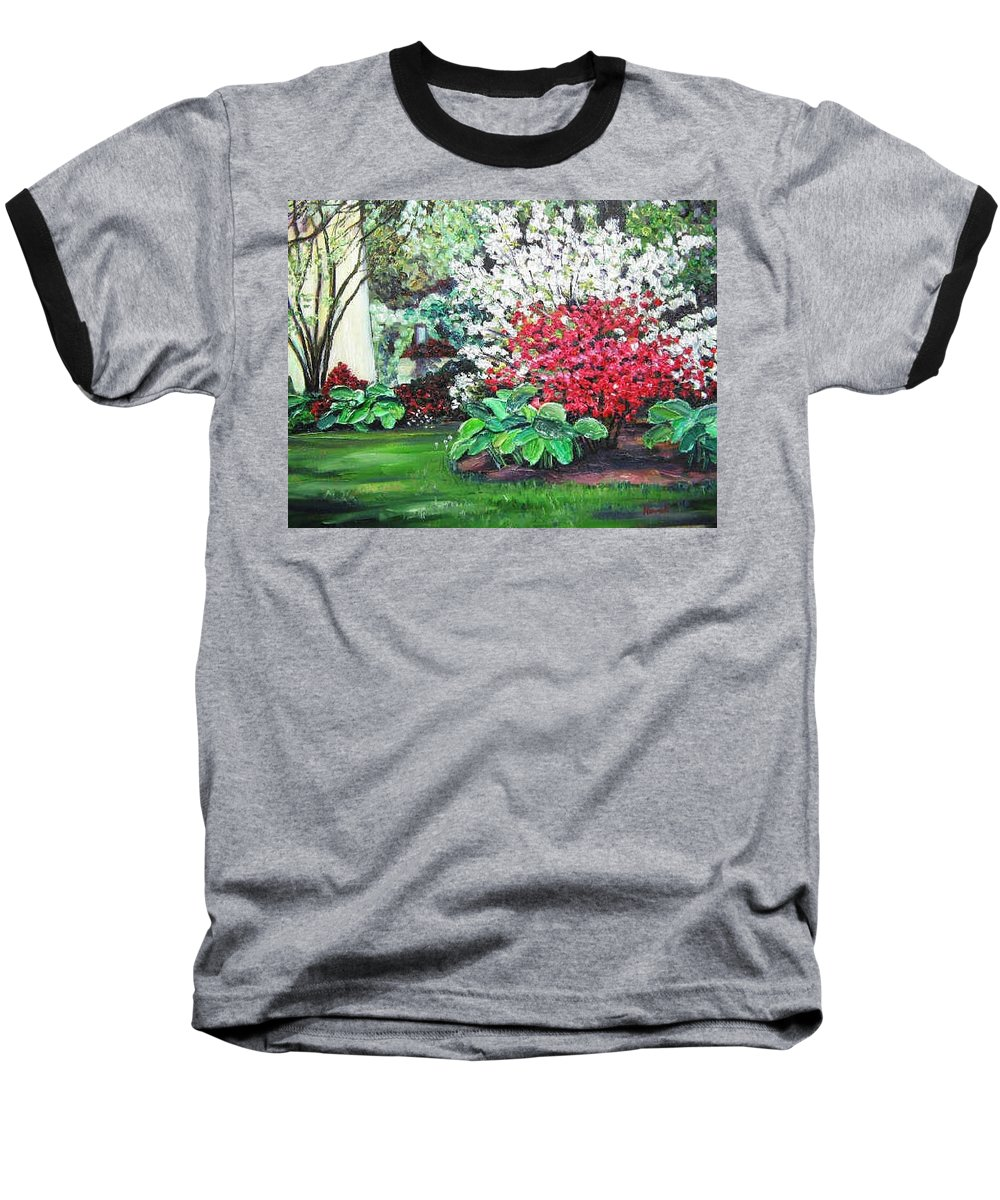 Blossoms Baseball T-Shirt featuring the painting Stanely Park Blossoms by Richard Nowak