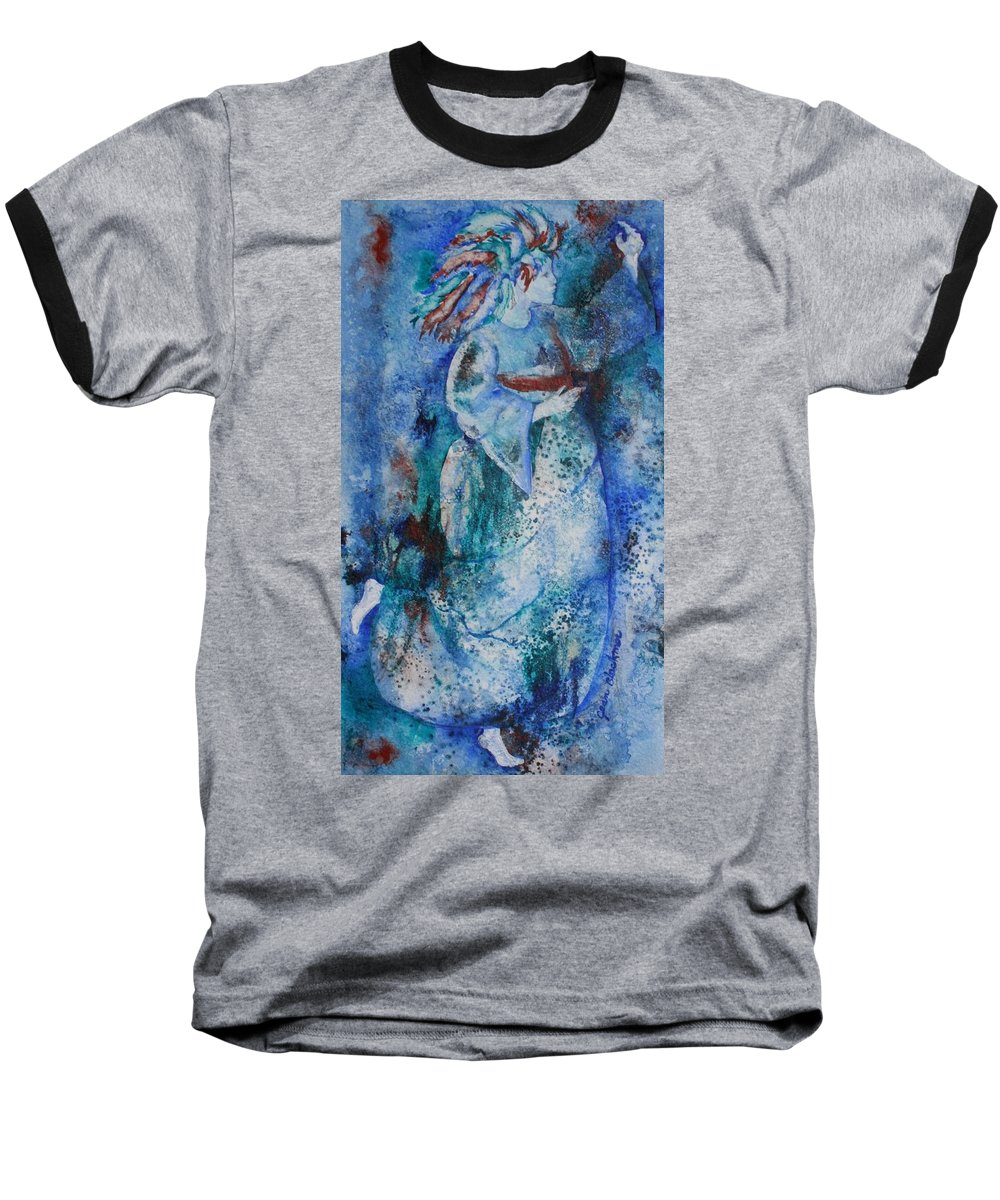 Abstract Baseball T-Shirt featuring the painting Star Dancer by Jean Blackmer