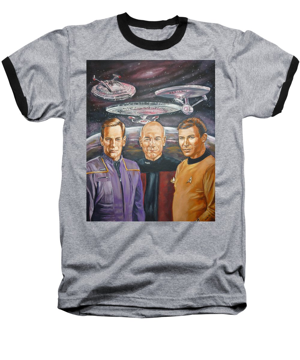 Star Trek Baseball T-Shirt featuring the painting Star Trek Tribute Enterprise Captains by Bryan Bustard