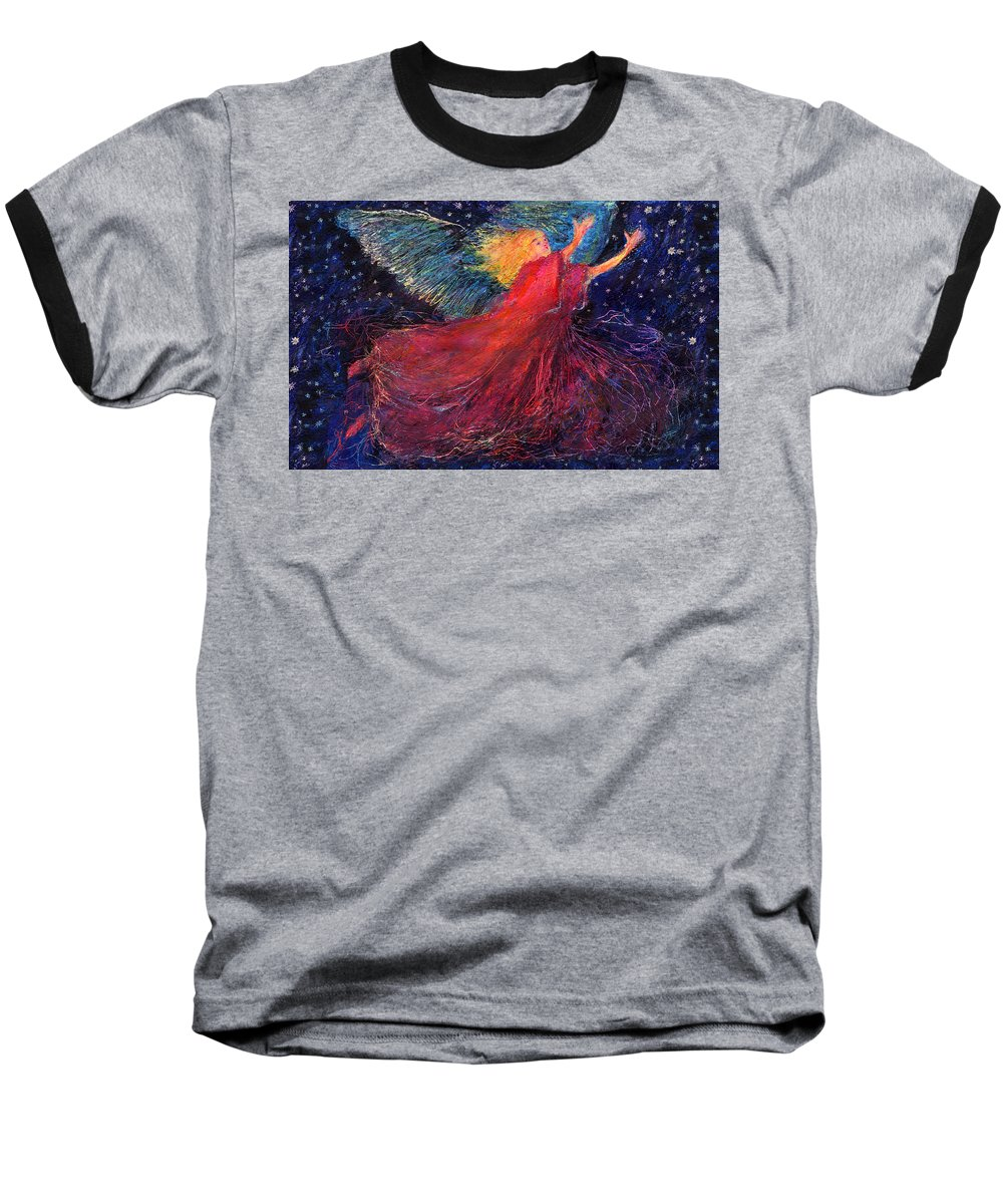 Angel Baseball T-Shirt featuring the painting Starry Angel by Diana Ludwig