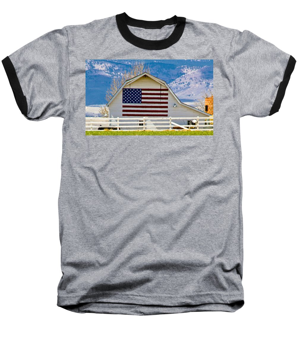 Barn Baseball T-Shirt featuring the photograph Stars Stripes And Barns by Marilyn Hunt