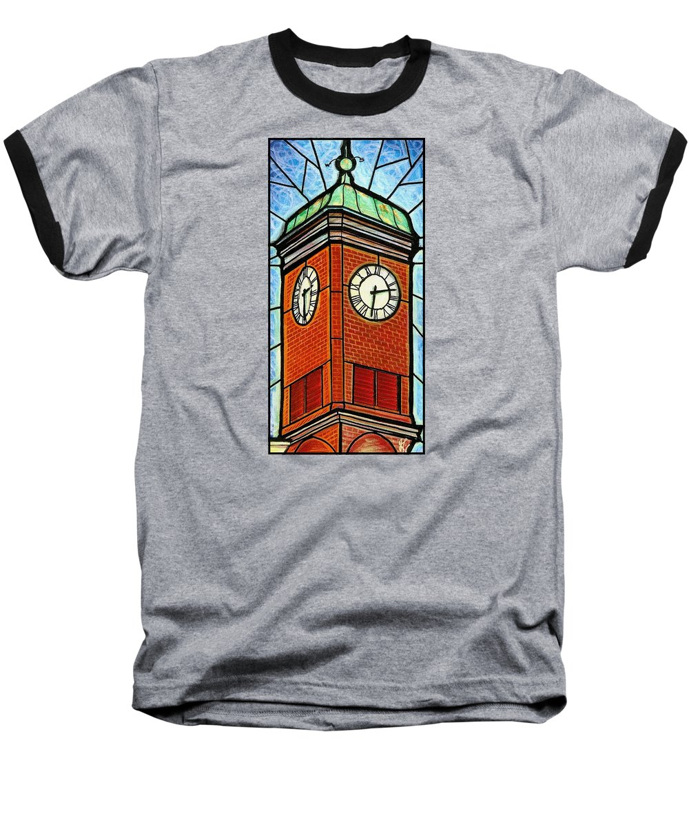 Clocks Baseball T-Shirt featuring the painting Staunton Clock Tower Landmark by Jim Harris
