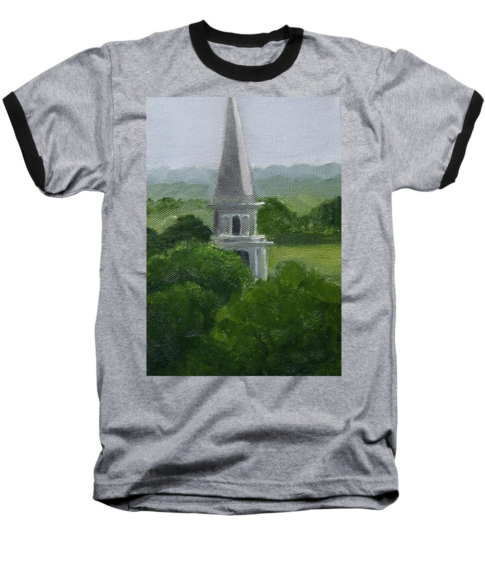 Steeple Baseball T-Shirt featuring the painting Steeple by Toni Berry