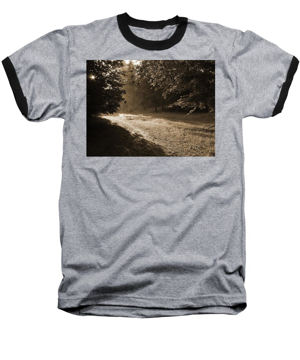 Light Baseball T-Shirt featuring the photograph Step Out Of The Shadow by Daniel Csoka