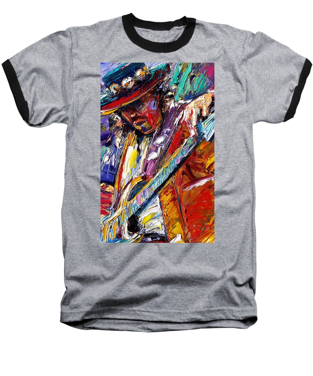 Rock Baseball T-Shirt featuring the painting Stevie Ray Vaughan Number One by Debra Hurd