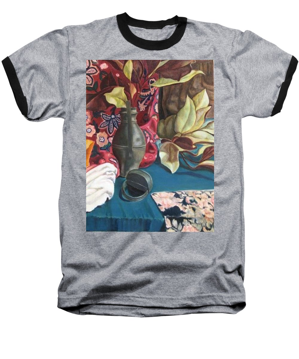 Still-life Baseball T-Shirt featuring the painting Still-life With Magnolia Leaves by Piety Choi