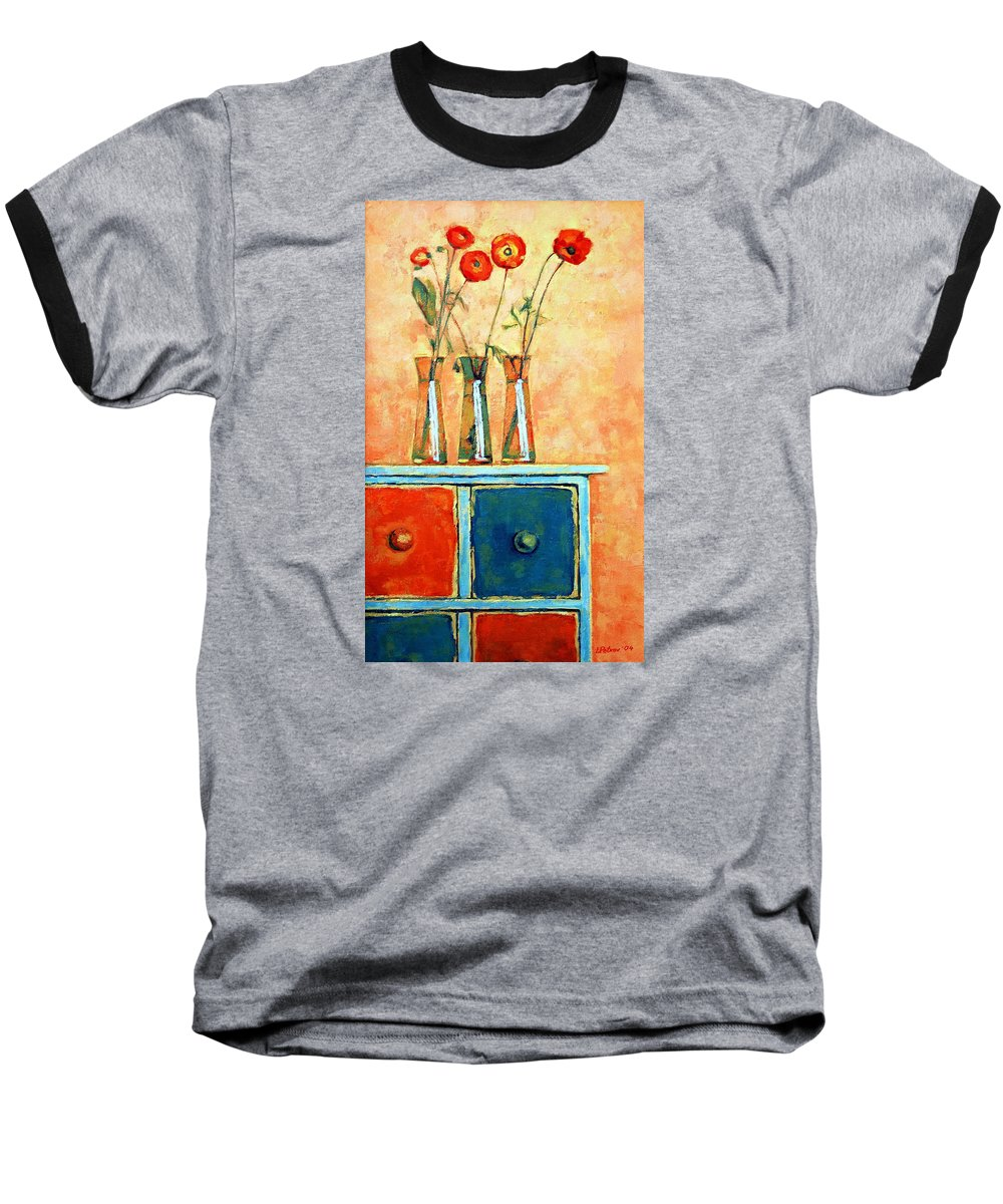Poppies Baseball T-Shirt featuring the painting Still Life With Poppies by Iliyan Bozhanov