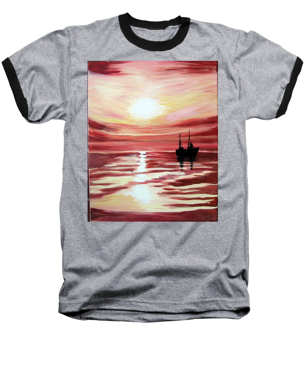 Seascape Baseball T-Shirt featuring the painting Still Waters Run Deep by Marco Morales