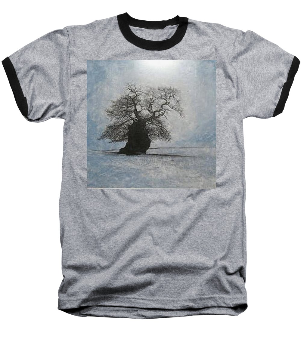 Silhouette Baseball T-Shirt featuring the painting Stilton Silhouette by Leah Tomaino