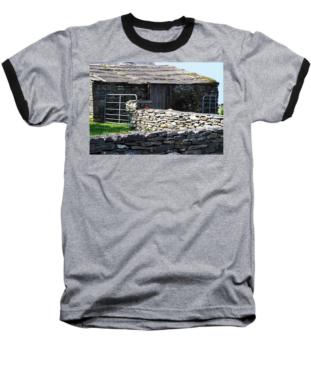 Irish Baseball T-Shirt featuring the photograph Stone Barn Doolin Ireland by Teresa Mucha
