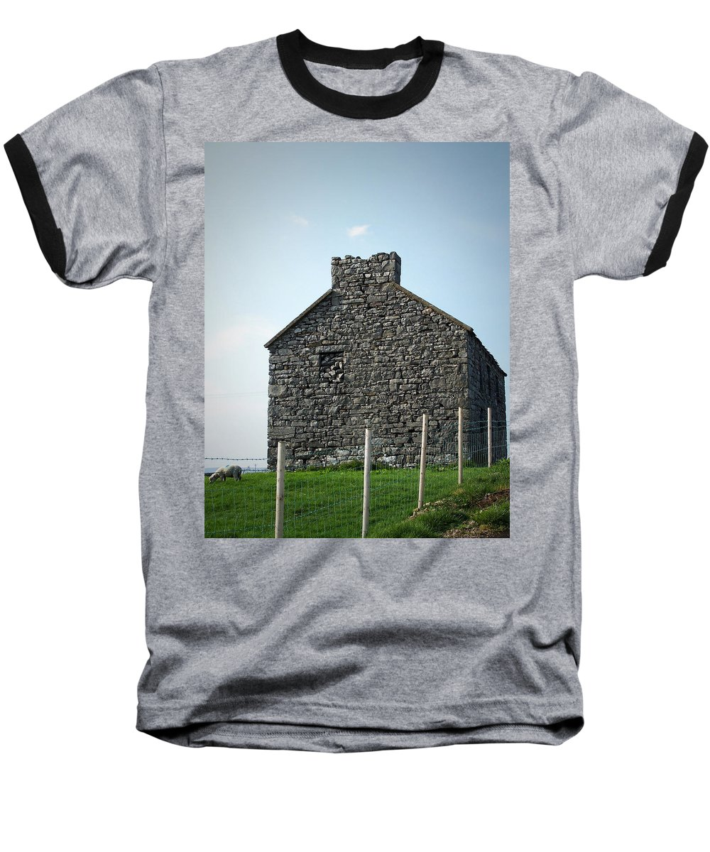 Irish Baseball T-Shirt featuring the photograph Stone Building Maam Ireland by Teresa Mucha