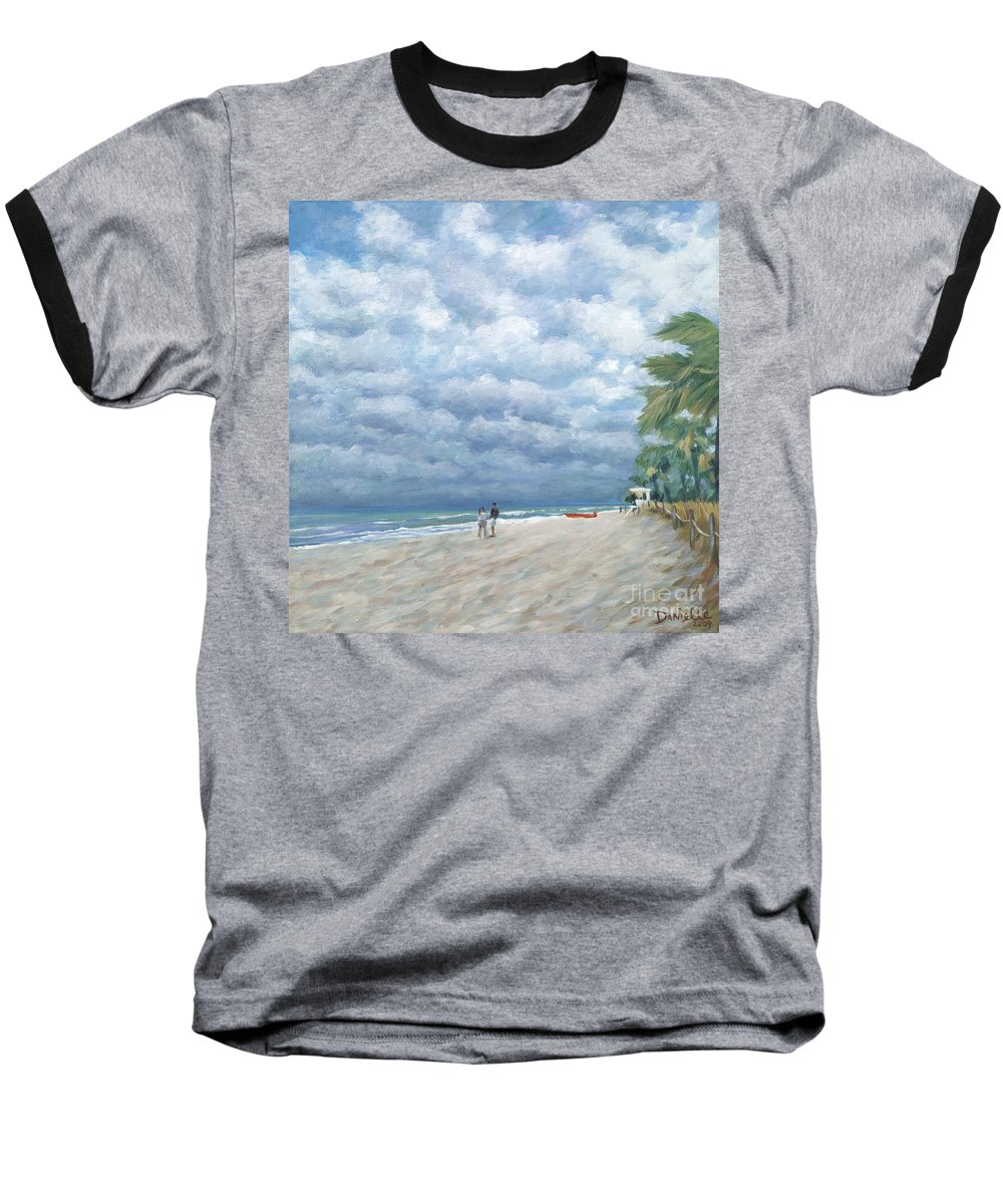 Fort Lauderdale Baseball T-Shirt featuring the painting Storm On The Horizon by Danielle Perry