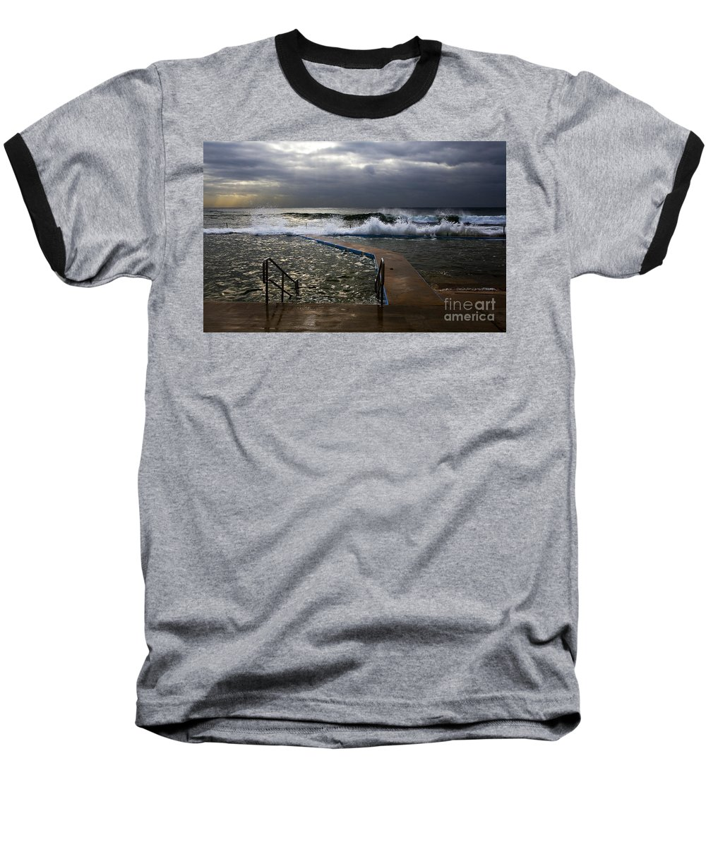 Storm Clouds Collaroy Beach Australia Baseball T-Shirt featuring the photograph Stormy Morning At Collaroy by Sheila Smart Fine Art Photography