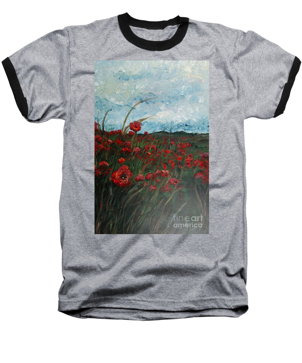 Poppies Baseball T-Shirt featuring the painting Stormy Poppies by Nadine Rippelmeyer