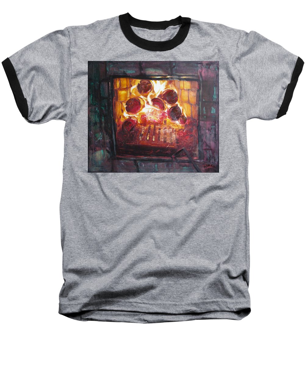 Oil Baseball T-Shirt featuring the painting Stove by Sergey Ignatenko
