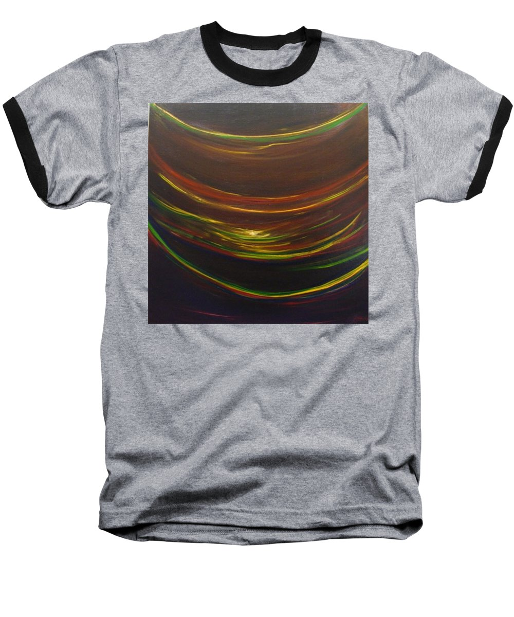 Rainbow Red Yellow Obama Baseball T-Shirt featuring the painting Strata Surf by Jack Diamond