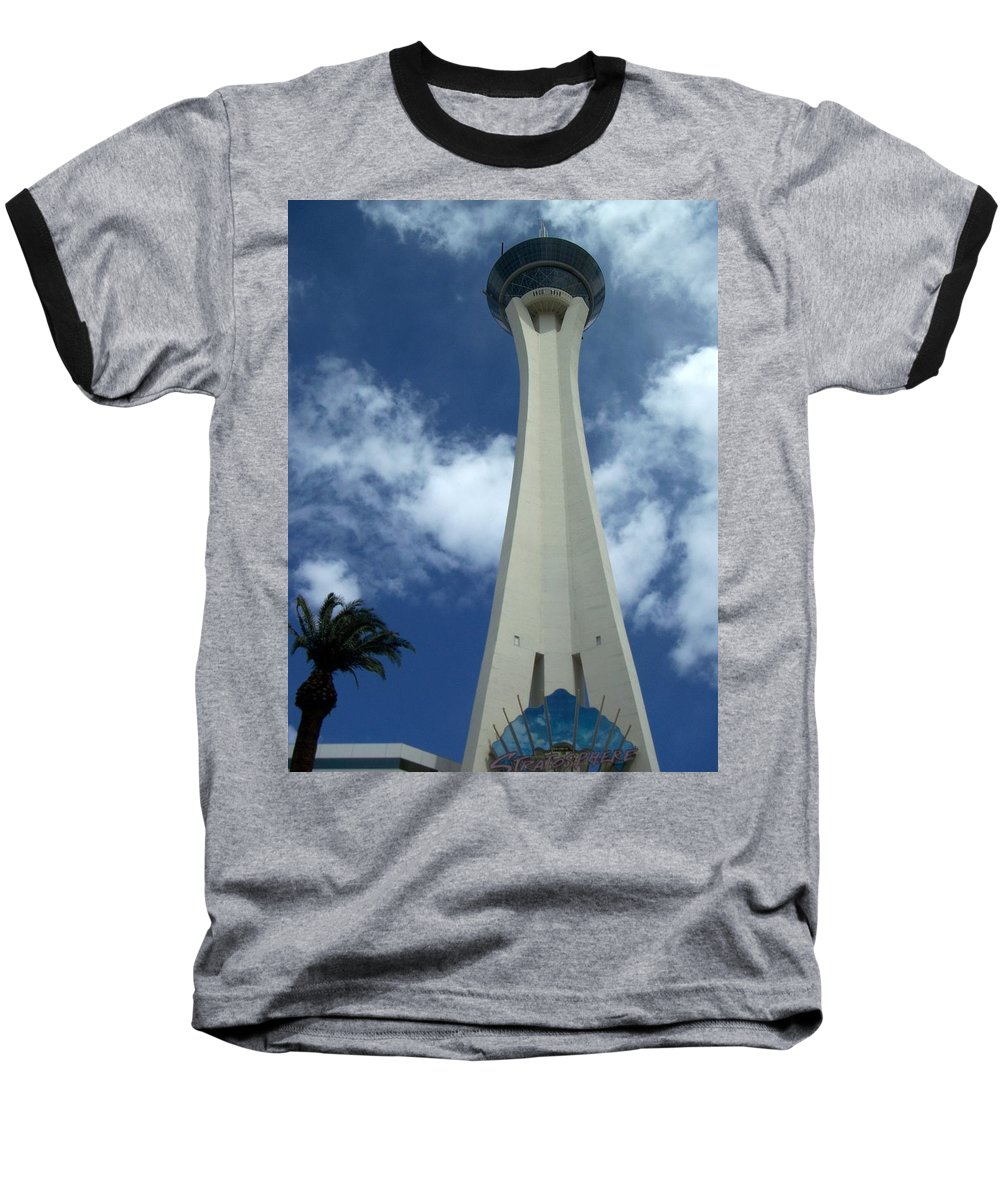Stratosphere Tower Baseball T-Shirt featuring the photograph Stratosphere Tower by Anita Burgermeister