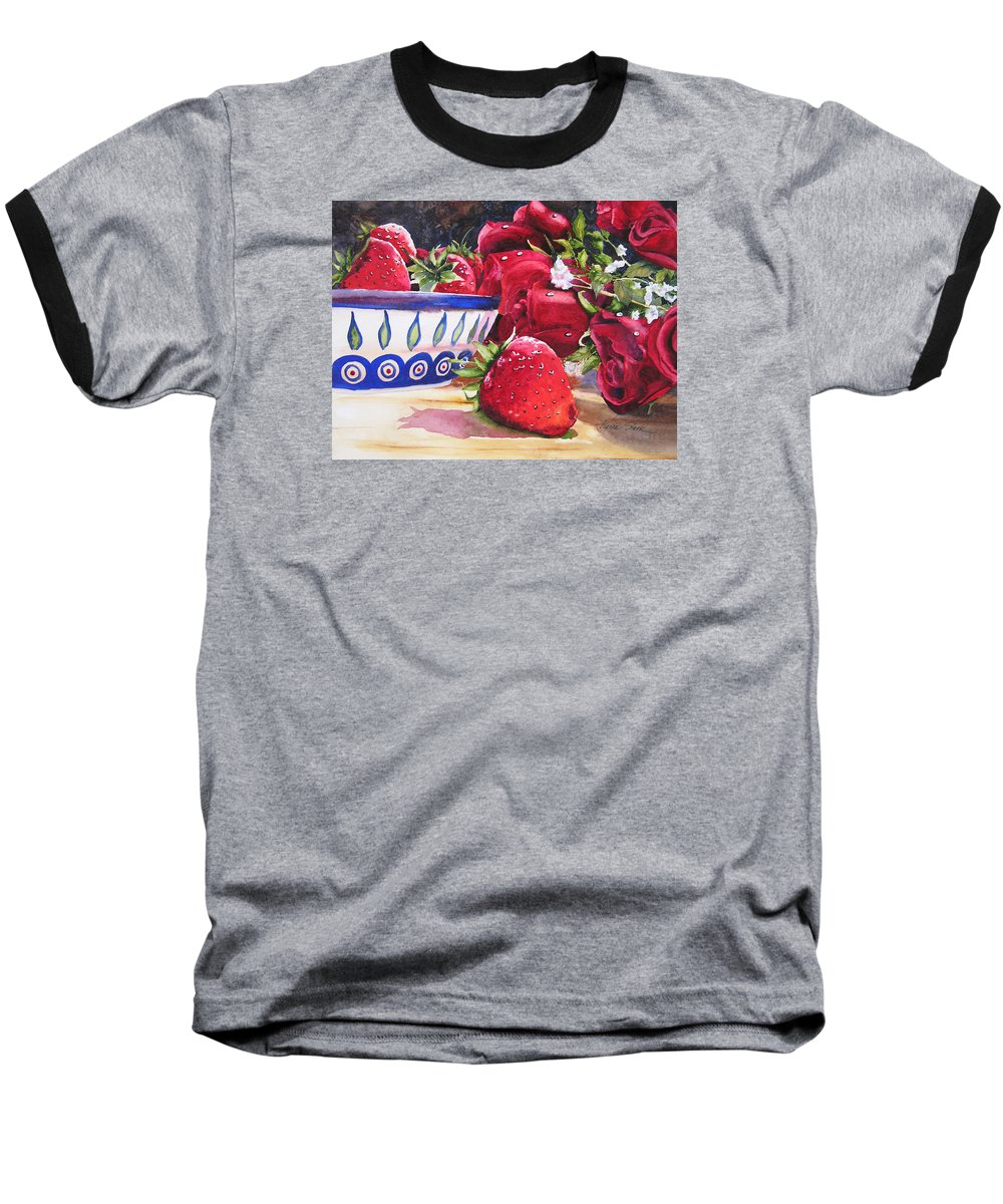 Strawberries Baseball T-Shirt featuring the painting Strawberries And Roses by Karen Stark