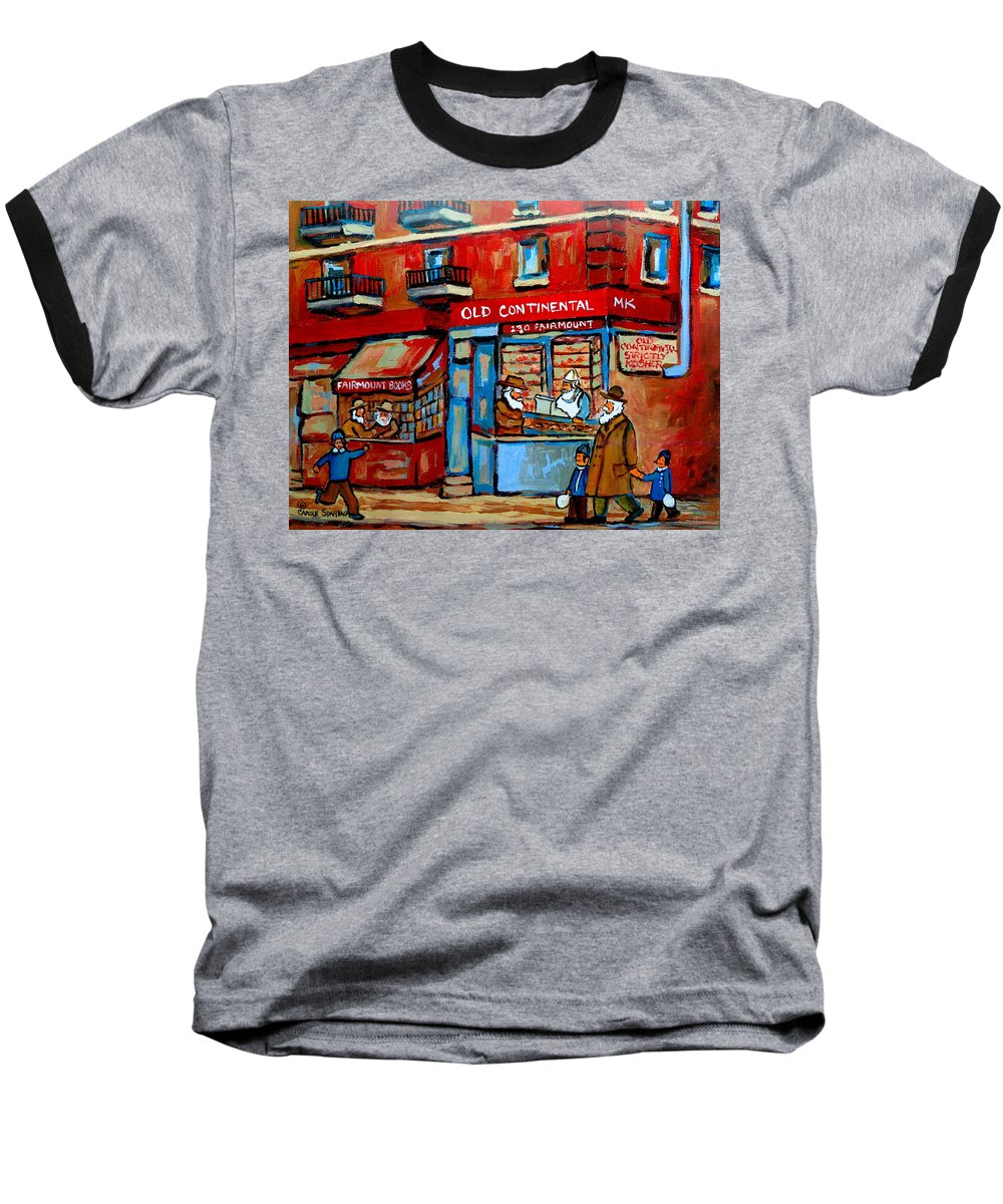 Old Continental On Fairmount Baseball T-Shirt featuring the painting Strictly Kosher by Carole Spandau