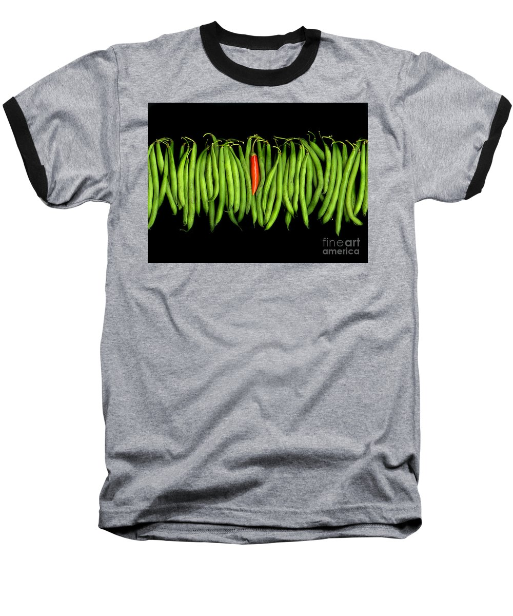 Culinary Baseball T-Shirt featuring the photograph Stringbeans And Chilli by Christian Slanec
