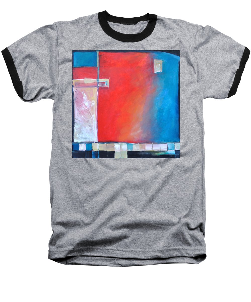 Abstract Baseball T-Shirt featuring the painting Structures And Solitude Revisited by Tim Nyberg