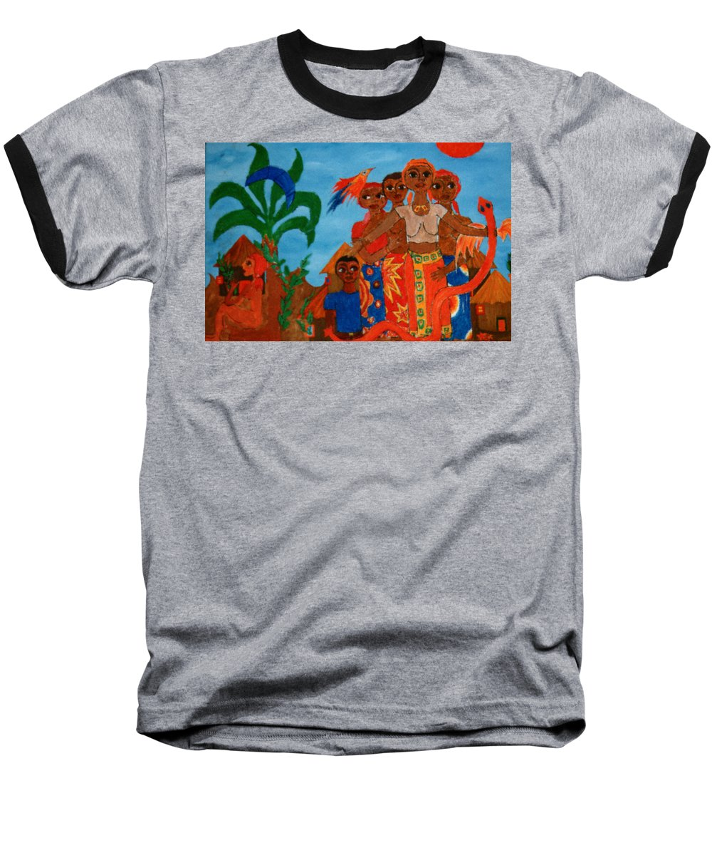 Study Baseball T-Shirt featuring the painting Study To Motherland A Place Of Exile by Madalena Lobao-Tello