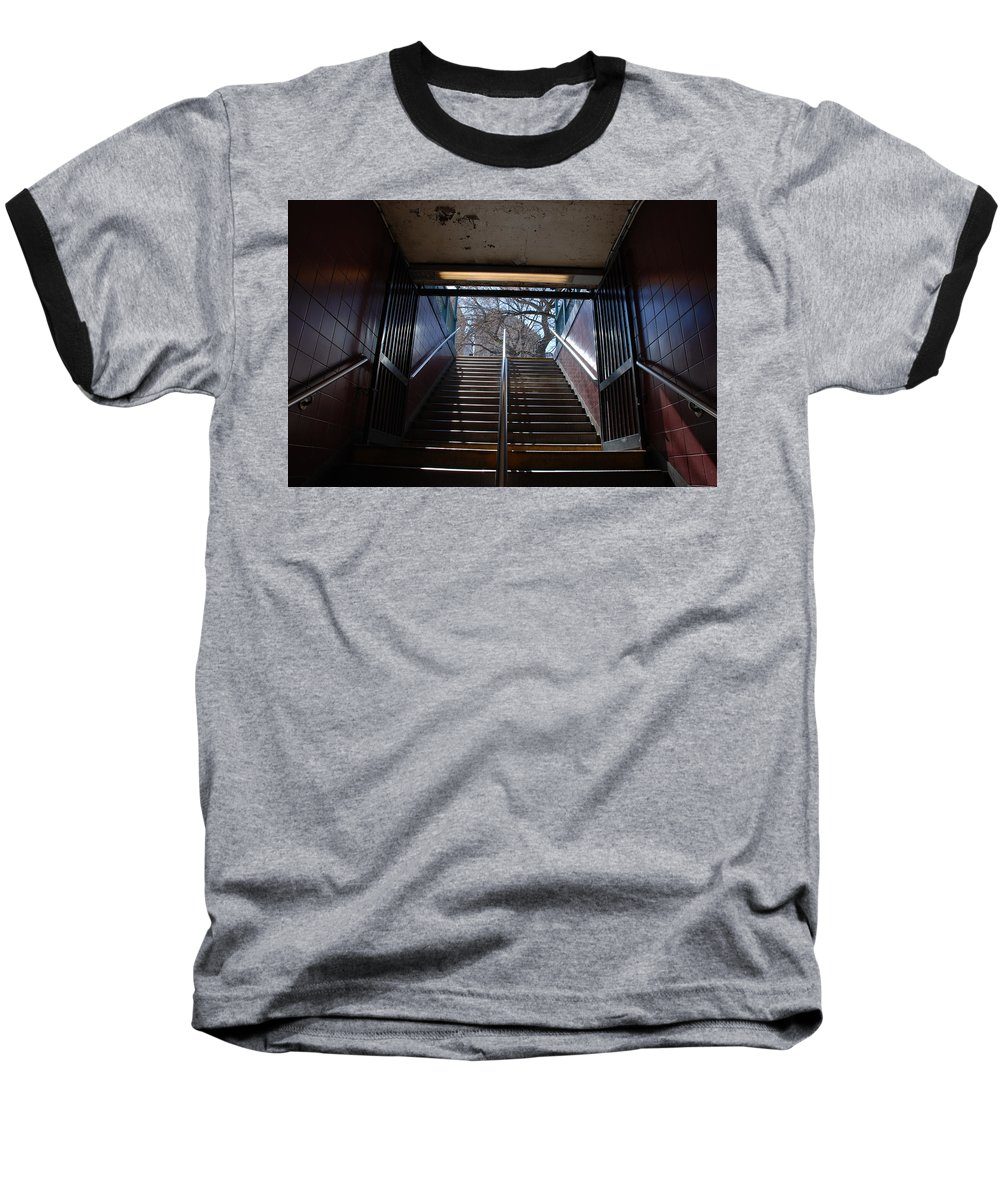 Pop Art Baseball T-Shirt featuring the photograph Subway Stairs To Freedom by Rob Hans