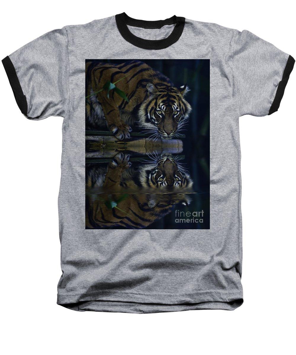 Sumatran Tiger Baseball T-Shirt featuring the photograph Sumatran Tiger Reflection by Sheila Smart Fine Art Photography