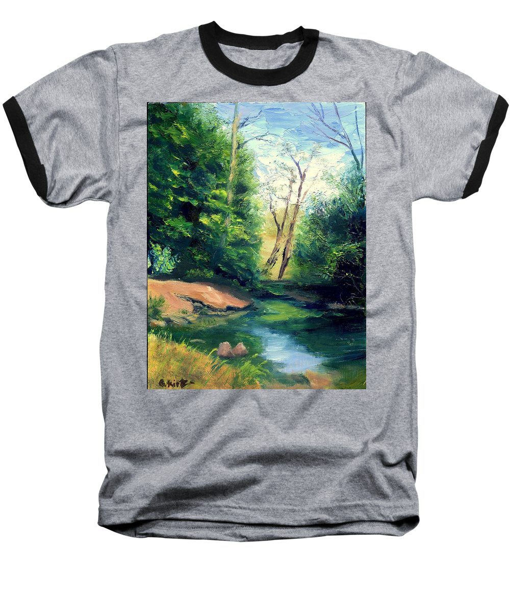Landscape Baseball T-Shirt featuring the painting Summer At Storm by Gail Kirtz